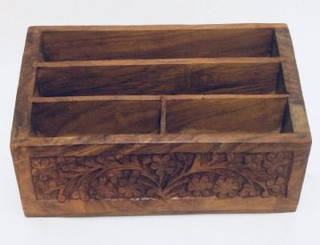 Wooden LETTER RACK FLORAL Carved 4 Compartments